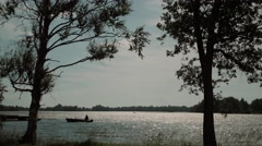 Fisherman on the lake Stock Footage