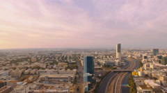 Aerial overhead view Tel Aviv city skyscrapers Stock Footage