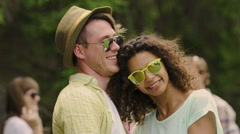 Cheerful young couple dancing and cuddling, enjoying free happy life together Stock Footage