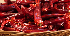 Chili pepper on wood basket Stock Footage