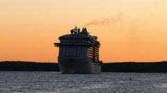 Regal Princess docking in Bar Harbor Stock Footage