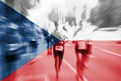 Marathon runner motion blur with blending  Czech Republic flag Stock Photos