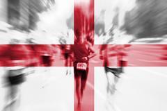 Marathon runner motion blur with blending  England flag Stock Photos