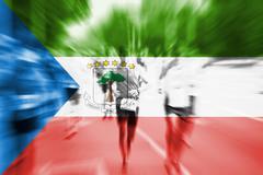 Marathon runner motion blur with blending  Equatorial Guinea flag Stock Photos
