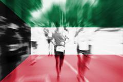 Marathon runner motion blur with blending  Kuwait flag Stock Photos