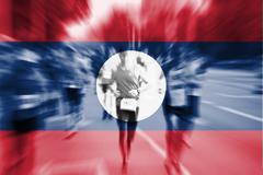 Marathon runner motion blur with blending  Lao PDR flag Stock Photos