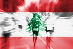 Marathon runner motion blur with blending  Lebanon flag Kuvituskuvat