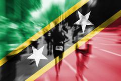Marathon runner motion blur with blending  Saint Kitts & Nevis flag Stock Photos