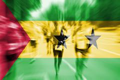 Marathon runner motion blur with blending  Sao Tome & Principe flag Stock Photos