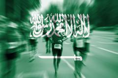 Marathon runner motion blur with blending  Saudi Arabia flag Stock Photos
