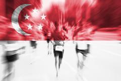 Marathon runner motion blur with blending  Singapore flag Stock Photos