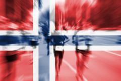 Marathon runner motion blur with blending  Norway flag Stock Photos