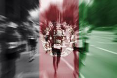 Marathon runner motion blur with blending  Afghanistan flag Kuvituskuvat