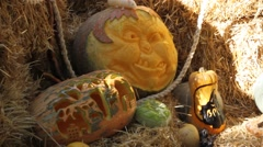 Helloween pumpkin carving for helloween night party. Last night of October Stock Footage
