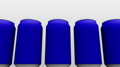 Simplified blue cans against white background. Soft drinks or beer production Stock Footage