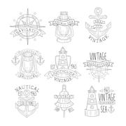 Vintage Sea Collection Black And White Emblems Stock Illustration