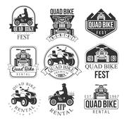 Quad Bike Rental Service Black And White Emblems Stock Illustration
