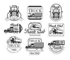 Heavy Truck Club Black And White Emblems Stock Illustration