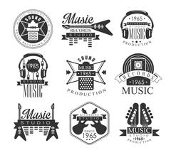Music Record Studio Black And White Emblems Stock Illustration