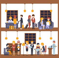 Two Illustrations, Scenes In The Hotel At Reception And Restaurant Stock Illustration