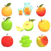 Apples And Apple Juice Cool Style Bright Illustrations Stock Illustration