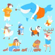 Arctic Animals Dressed In Human Clothes Set Of Illustrations Stock Illustration