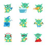 Little Dragon Everyday Activities And Emotions Set Stock Illustration