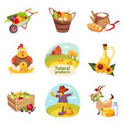 Farm Products And Animals Set Of Bright Stickers Stock Illustration