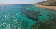 Eilat Red Sea tourist resort coral Stock Footage