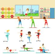 Women In Fitness Club Doing Different Workout Trainings With Instructor Stock Illustration
