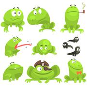 Green Frog Funny Character Set Of Different Emotions Stock Illustration