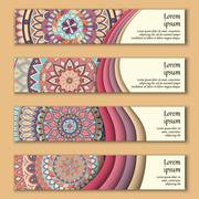 Banner card set with floral colorful decorative mandala elements background. Stock Illustration