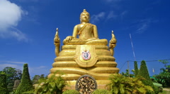 Golden Bhudda next to the Big Bhudda in Phuket. Stock Footage