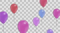 Multi-colored balloons fly on top, alpha channel Stock Footage