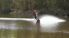 Wakeboarding on the river with action camera. Stock Footage