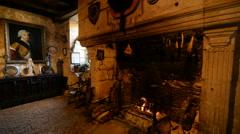 Interior of the medieval Maison Forte de Reignac, Dordogne, France Stock Footage