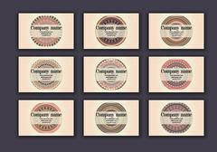 Vintage business visiting cards set. Ornamental mandala, ethnic circle decora Stock Illustration