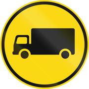Temporary road sign used in the African country of Botswana - Goods vehicles  Stock Illustration