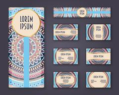 Business cards, invitations and banner template set. Ethnic mandala pattern a Stock Illustration