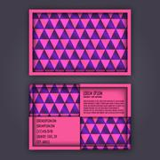 Business card template with 3D paper colorful triangle texture Stock Illustration