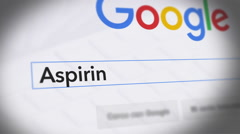 Google Search Engine - Search For Aspirin Stock Footage