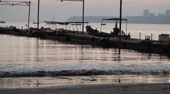 Mumbay city, small pier at sunset Stock Footage