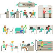 Coworking In Modern Design Office Infographic Illustration Set Piirros