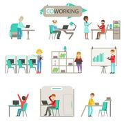 Coworking In Modern Open Space Office Infographic Illustration Set Piirros