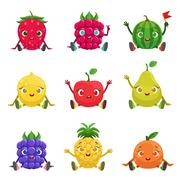 Fruit And Berries Cute Girly Characters Sitting And Waving Stock Illustration