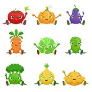 Vegetables Cute Girly Characters Sitting And Waving Stock Illustration