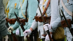 Historical military reenactment with soldier uniforms from World War One Stock Footage