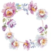 Wildflower rose flower wreath in a watercolor style isolated. Stock Illustration