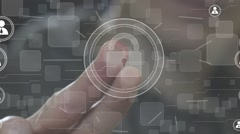 Button lock security business online network web Stock Footage