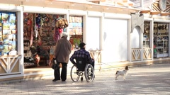 Man sitting in the wheelchair with dog Stock Footage